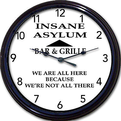 Insane Asylum Bar & Grille Wall Clock Beer Brew Ale Cocktails Psychiatry New 10""