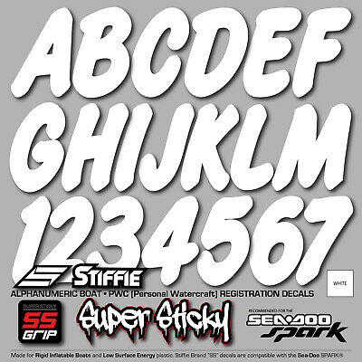STIFFIE Whip-One WO02-SS Sea-Doo Spark Boat Registration Numbers Decals WHITE