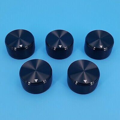 5pcs Black 30 X 17mm Solid Aluminum 6mm Dia Rotary Control Potentiometer Knob