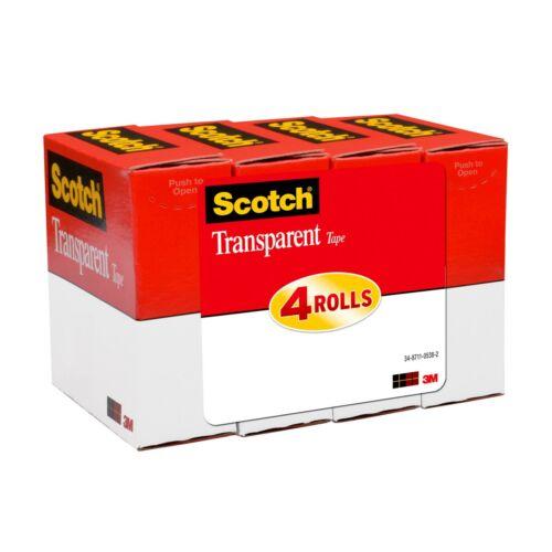 "Scotch 3M Transparent Tape, 3/4"" x 1,000"", Pack Of 4 Rolls (557k4) NEW"