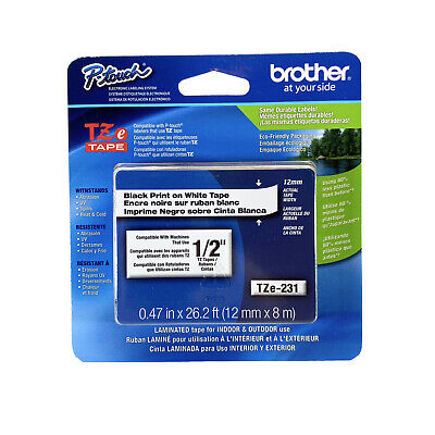 Genuine Brother Tze-231 12 Black Print On White P-touch Tz Tape Label
