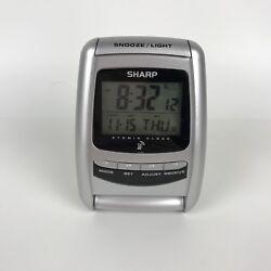 SPC325 Sharp Atomic Digital Travel Alarm Clock Backlight - Silver - 4 x 2.75