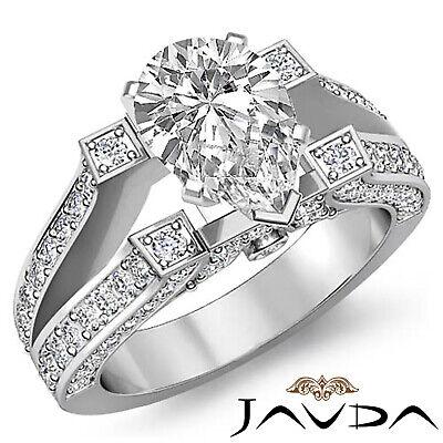 V Shaped Split Shank Bezel Set Pave Pear Diamond Engagement Ring GIA G SI1 2.2Ct