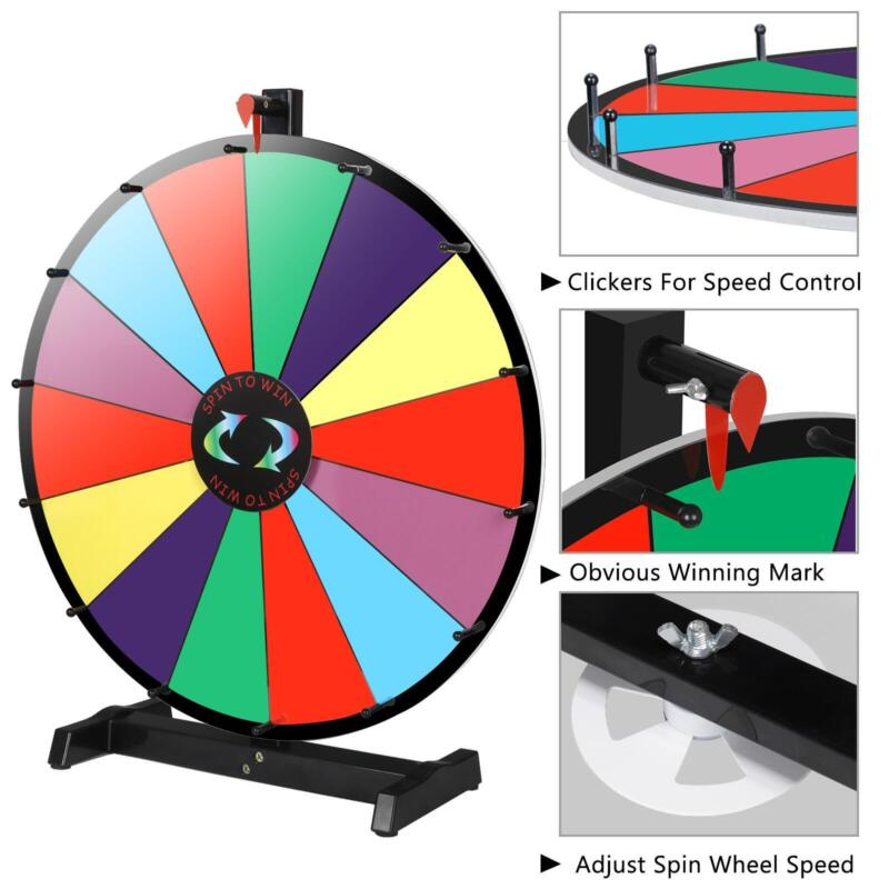 """24""""Color Prize Wheel Fortune Detachable Stand Carnival Spinnig Game Dry Erasable"""