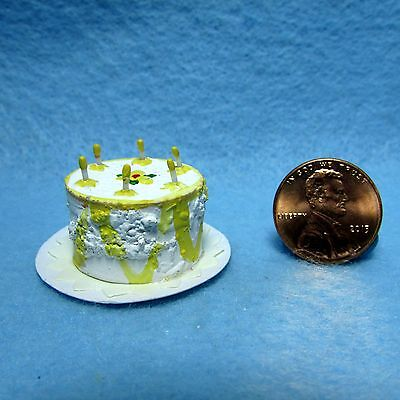 Dollhouse Miniature Happy Birthday Cake with Candles ~ Yellow IM65224