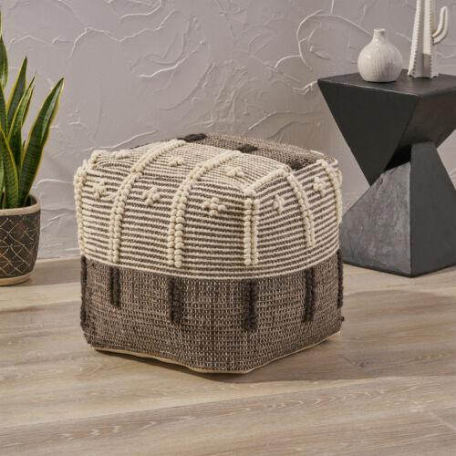 Murphie Boho Wool and Cotton Ottoman Pouf Furniture