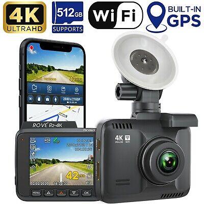 Rove R2-4K Car Dash Cam - 4K Ultra HD 2160P - Built-In WiFi & GPS Supports 512GB