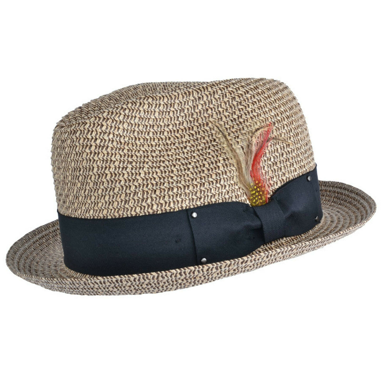 57788cf23c748 UNISEX Crushable Straw Summer C-Crown Trilby Hat With Removable Feather  andAdjustable Sweatband