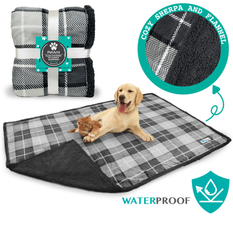 WATERPROOF Dog Blanket for Bed Couch Furniture Puppy Large Dog Sherpa Fleece