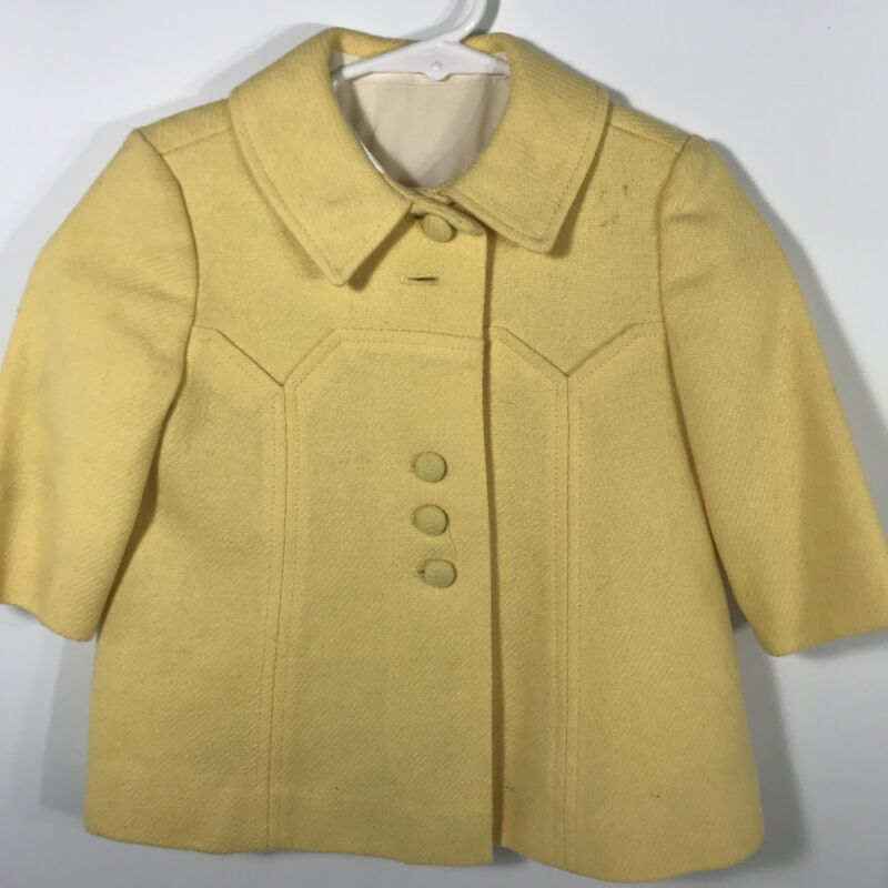 Childs Toddler Wool Coat Hat Yellow 1950s 1960s Vintage
