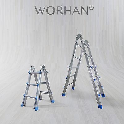WORHAN® Escalera 302cm Telescopica de 3.02m Multiuso Alu Plegable Tijera L3