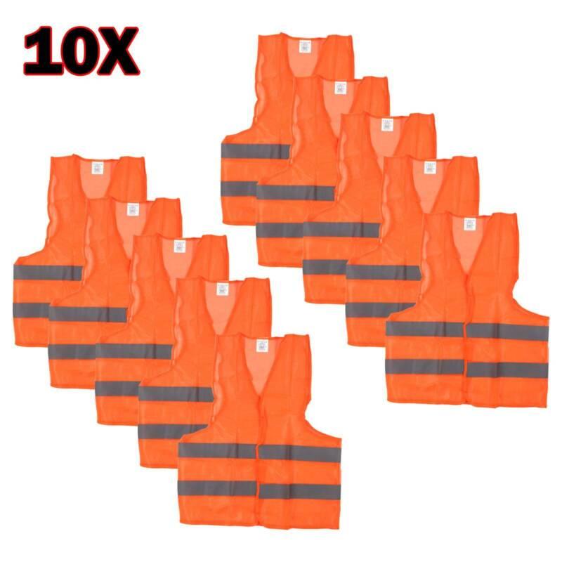 10 Warnweste Orange Warnwesten Unfallweste Sicherheits Warnschutz Weste Signal