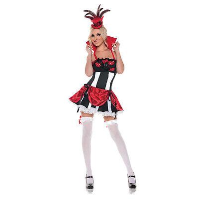 Adult Women's Sexy Queen of Hearts Alice in Wonderland Burlesque Costume Dress
