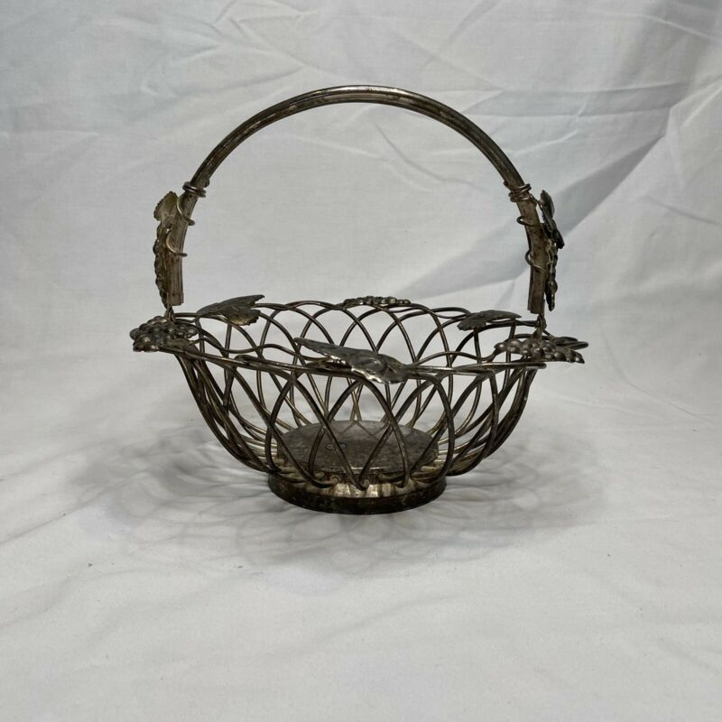 Vintage Godinger Silver Art Grape Basket For Bread Or Fruit With Moveable Handle