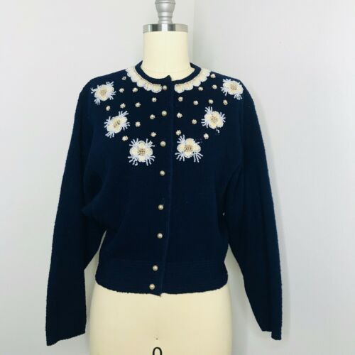 Vintage Kimberly Knitwear Cardigan Sweater Size Small Beaded Floral Button Front