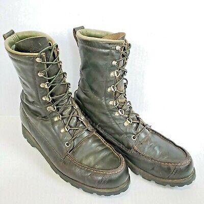Vtg Ted Williams Mens Boot 9.5B Green Kangaroo Leather Lace Sport Hunting Narrow Kangaroo Hunting Boot