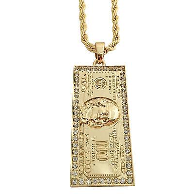 Gold 14K GP Hip Hop Large 100 Dollar $100 Iced CZ Pendant Necklace Rope Chain  Gold Gp Pendant Necklace