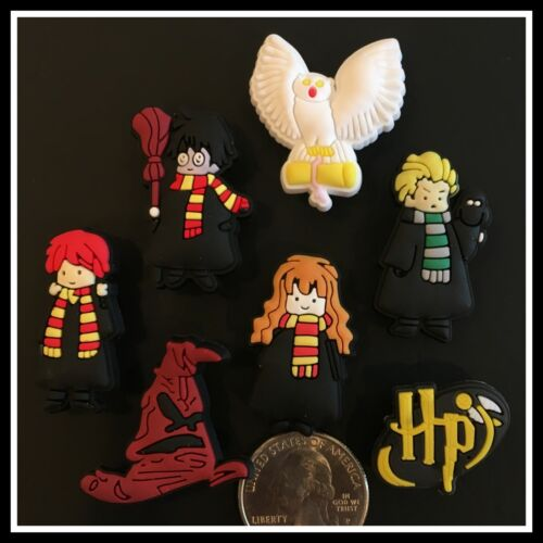 Set of 7 Shoe Charms for Crocs HARRY POTTER Hedwig Ron Hermione Malfoy HP Snitch