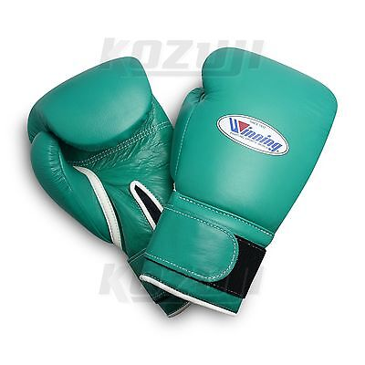 Winning Pro Boxing Gloves MS-600-B Green, 16oz Hk & Loop Design, New from Japan