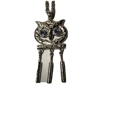 60s -70s Jewelry – Necklaces, Earrings, Rings, Bracelets Vintage HOOT OWL NECKLACE BIRD 1960's Pendant Silver Tone Blue Rhinestone Eyes $14.99 AT vintagedancer.com
