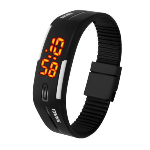 Waterproof LED Digital Silicone Sport Wristwatch Men Women B