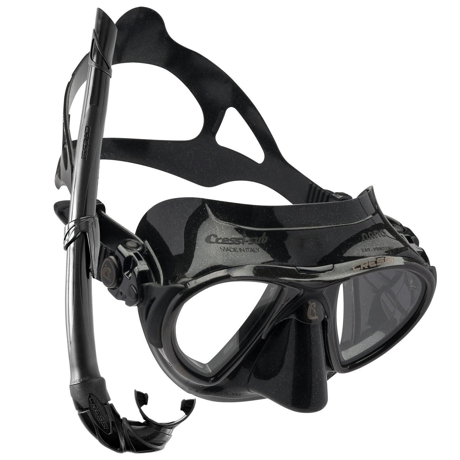 Cressi Nano Black Apnoe Tauchmaske mit Apnea Schnorchel Corsica Flex