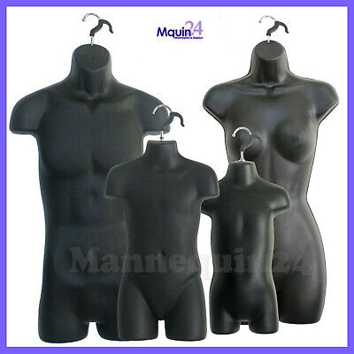 4 Torso Mannequin Set Of Black Male Female Child Toddler Hanging Body Forms
