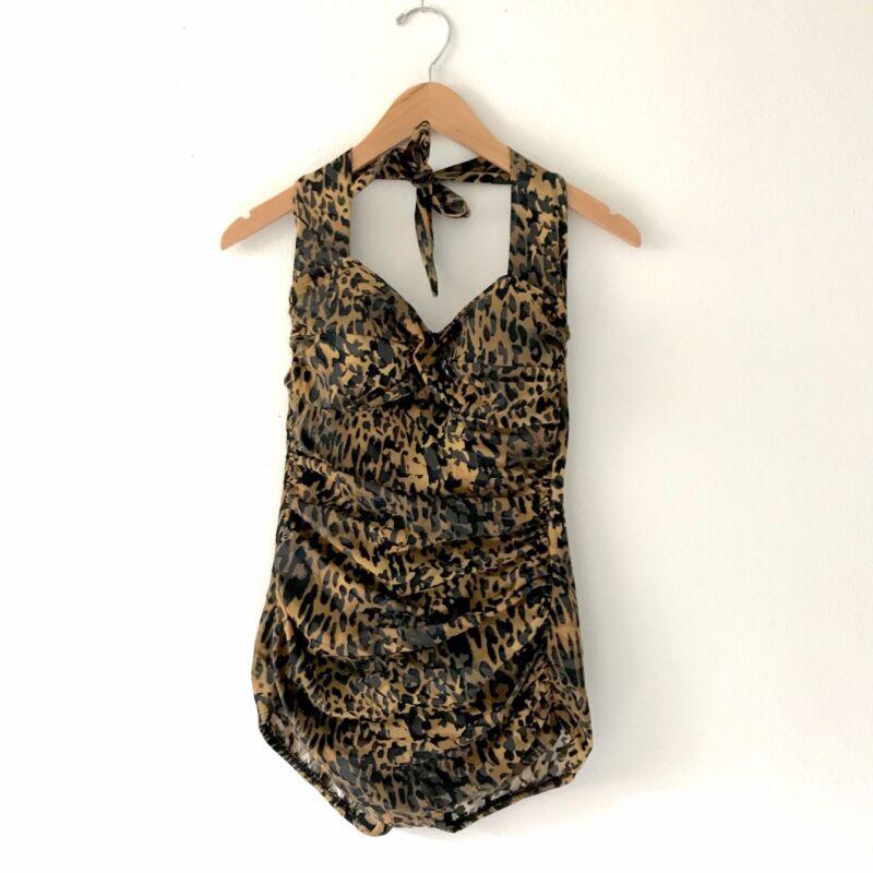 VTG  Pinup Rockabilly Leopard Print Swimsuit Bathing Suit One Piece Swimwear S M