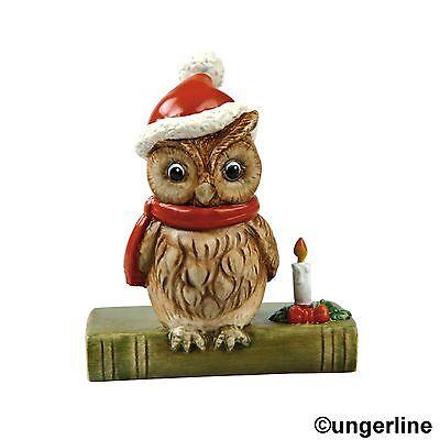 Goebel Eule mit Weihnachtsmütze auf Buch Märchenstunde 7,5 cm Tiere Neu