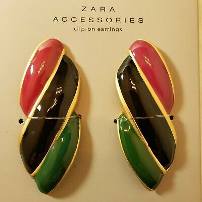 ZARA 80's Retro Style Big Multi-Color Gold Tone Trim Clip-On Earrings Set NWT