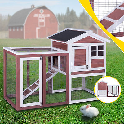 """48"""" Chicken Coop Rabbit Hutch Waterproof Roof Large Hen House Animal Pet Cage for sale  USA"""