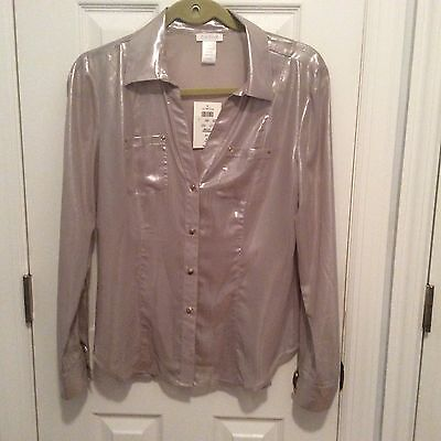 NWT Cache Women's Long Sleeve Taupe Shiny Blouse Top Size M