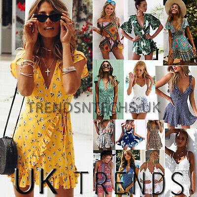 1627d2f4d UK Womens Holiday Mini Playsuits Ladies Jumpsuits Beach Summer Dress Size 6  - 14