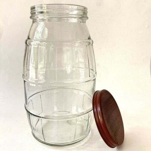 Vintage Glass Gallon Pickle Jar Barrel Metal Top Country Decor 3 Qt 12 cups