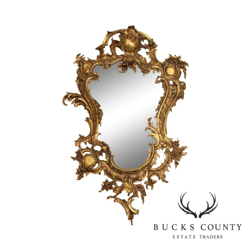 Rococo Style Vintage Brass Frame Mirror