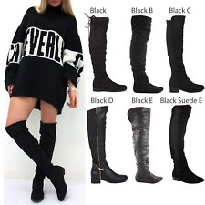 WOMENS LADIES KNEE THIGH HIGH LOW FLAT HEEL OVER THE KNEE BLACK SUEDE BOOTS SIZE