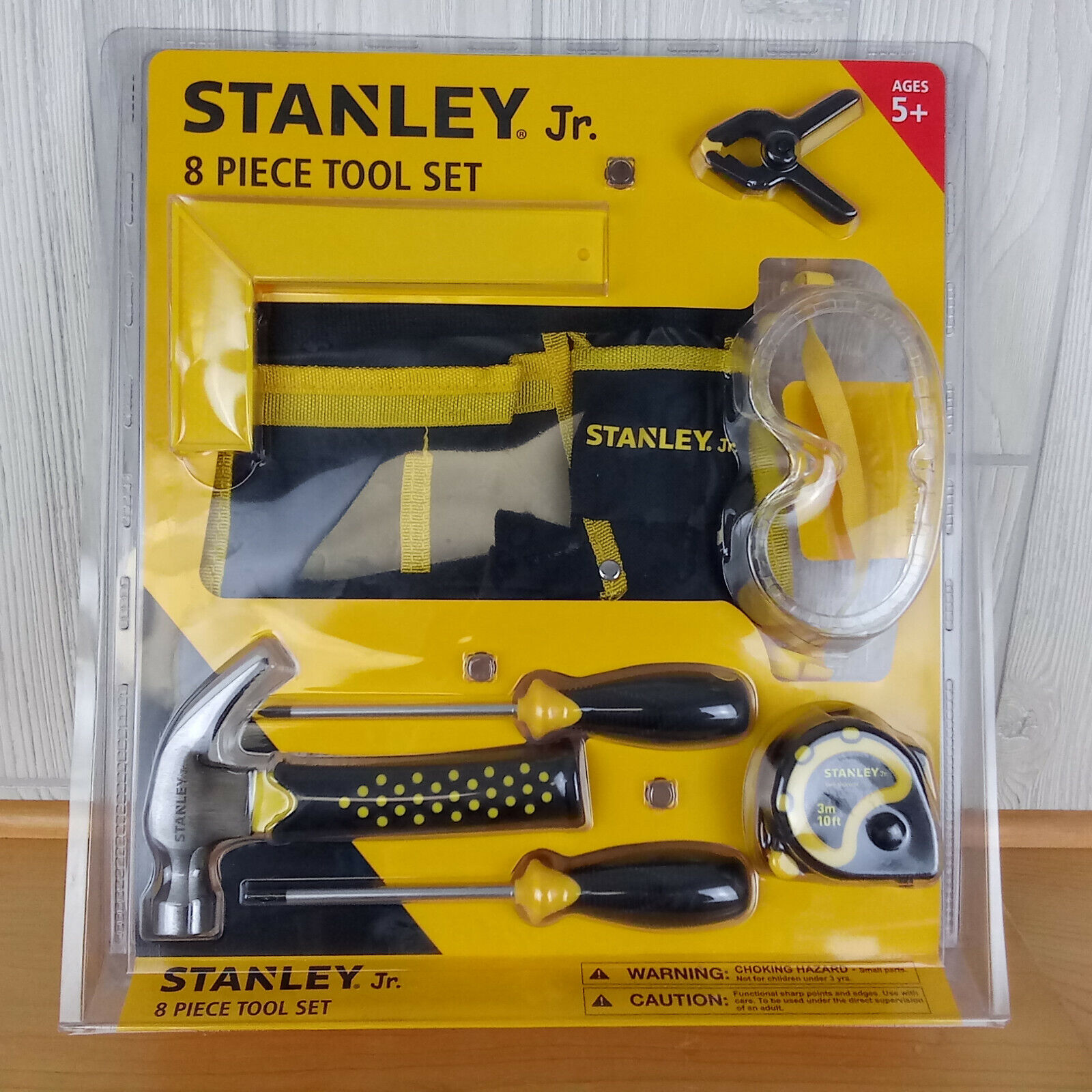 New! Stanley Jr. 8 Piece Real Tool Set for Kids 5+ Hammer Sc