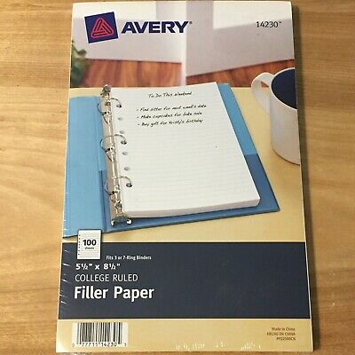 Avery Mini Binder Filler Paper 5-12 X 8 12 7- Hole Punch College Rule 100 Pack