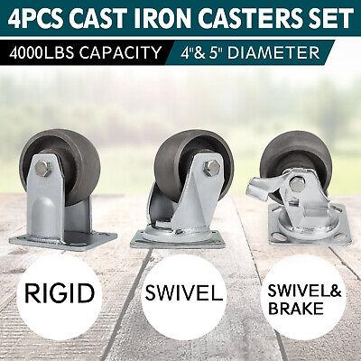 Vevor 4 5 Cast Iron Wheels No Mark Set Of 4 Heavy Duty