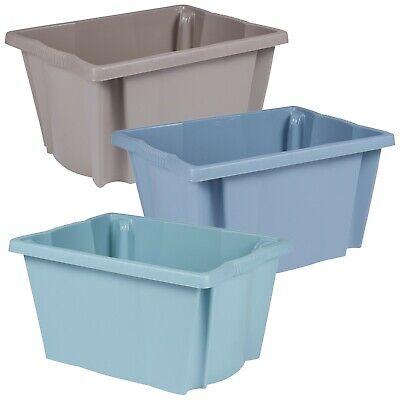 Set Di 3 Plastica Impilabile Conservazione Scatole Robusto Colorato Contenitori