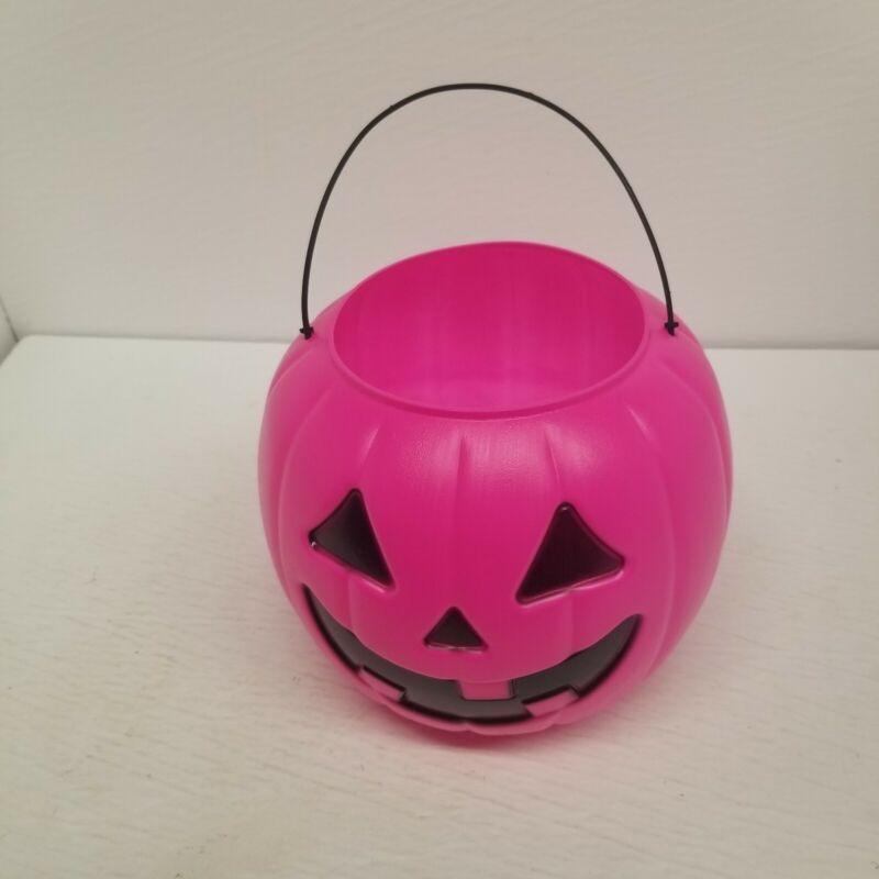 Vintage General Foam Hot Pink Jack O Lantern Pumpkin Hot Pink Candy Bucket