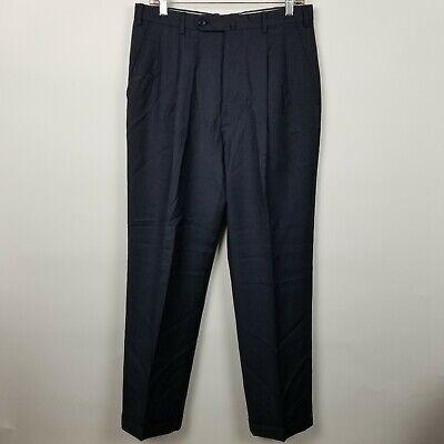 Incotex Venezia 1951 Mens 100's Wool Dark Blue Pleated Cuffed Dress Pants 32x31