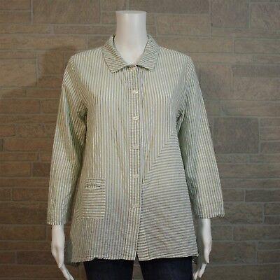 Habitat Misses SMALL Green White Stripe Asymmetric LS Button Blouse Shirt