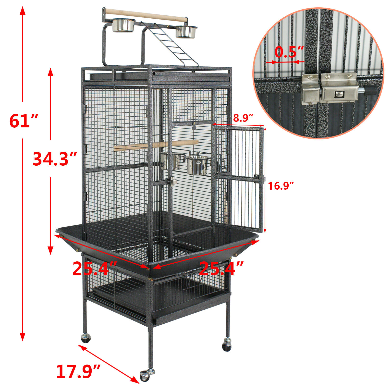 61″ Large Bird Cage Large Play Top Parrot Finch Cage Pet Supplies Removable Part Bird Supplies