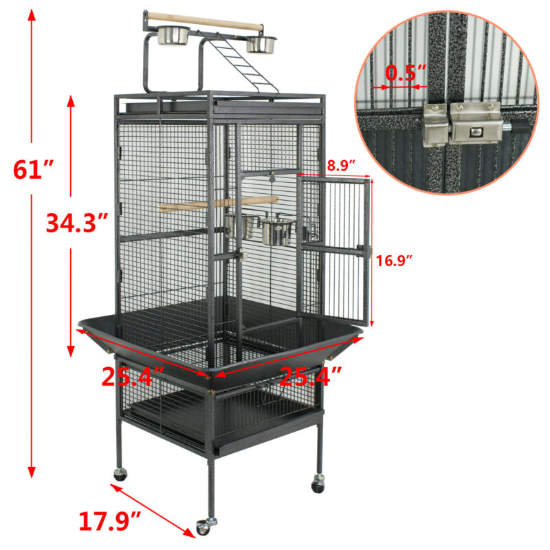 "61"" Large Bird Cage Large Play Top Parrot Finch Cage Pet Supplies Removable Part"