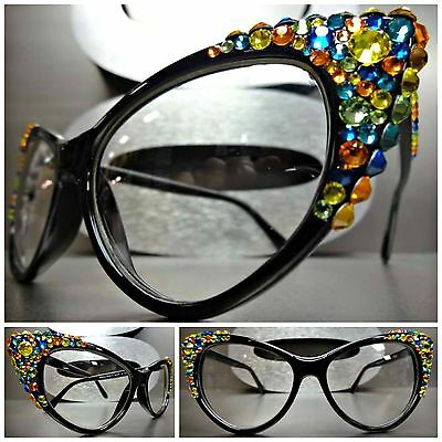 VINTAGE 60's CAT EYE Style Clear Lens EYE GLASSES Crystal Fashion Frame Handmade