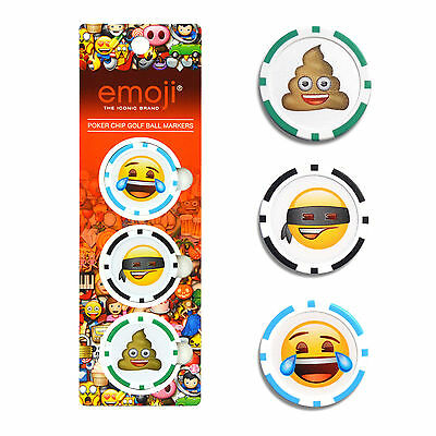 OFFICIAL EMOJI POKER CHIP GOLF BALL MARKERS - POOP LAUGHING FUNNY JOKE GIFT HIM