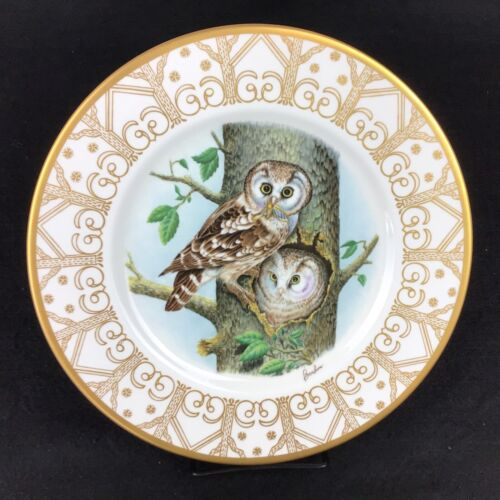 """EDWARD MARSHALL BOEHM 10.75"""" Owl Plate Collection BOREAL OWL Perfect Condition!"""