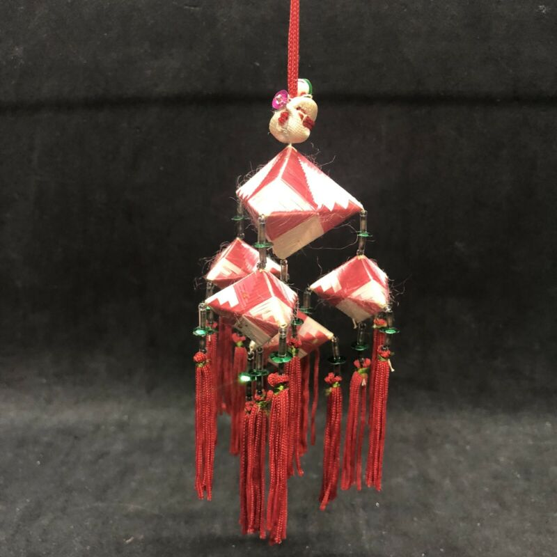 Vintage Oriental Chinese Mobile Christmas Ornament Woven Tassels Beads Sequins
