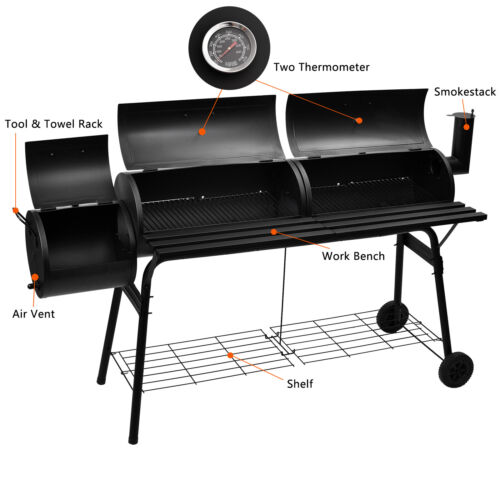 "68"" Outdoor BBQ Grill Charcoal Barbecue Pit Patio Backyard M"